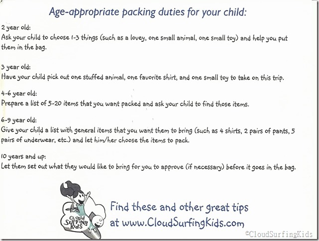 Kid's packing assignments